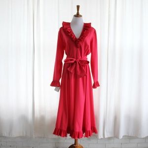 70s Victor Costa Gown Ruffle Maxi